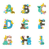 Alphabet baby from A to I Royalty Free Stock Photo
