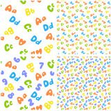 Alphabet background. Colorful seamless pattern of letters and numbers Stock Image