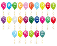 Alphabet balloons. Colorful cartoon alphabet balloons isolated on white background. Eps file available stock illustration