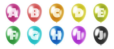 Alphabet balloons set a-j. Set of ten balloons of different colors in pastel tones with letters from a to j of roman alphabet printed on them Stock Illustration