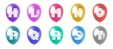 Alphabet balloons set k-t. Set of ten balloons of different colors in pastel tones with letters from k to t of roman alphabet printed on them Royalty Free Illustration