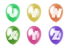 Alphabet balloons set u-z. Set of ten balloons of different colors in pastel tones with letters from u to z of roman alphabet printed on them Vector Illustration