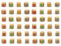Alphabet-Bausteine des Kindes, verschiedene Winkel Stockfotos