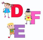 Alphabet bezeichnet E-F D mit Buchstaben Stockfoto