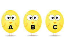 Alphabet birds. Cartoon birds with alphabet letters Royalty Free Stock Photos