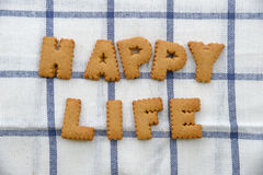 Alphabet Biscuits ,word happy life Stock Photo