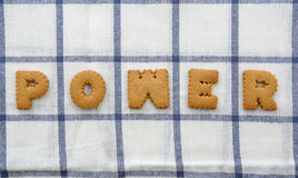 Alphabet Biscuits ,word  POWER  Royalty Free Stock Images