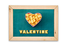 Alphabet Biscuits ,word  VALENTINE  on chalkboard background. Royalty Free Stock Photos
