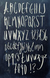 Alphabet on blackboard Stock Photo
