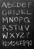 Alphabet on blackboard. English alphabet - white chalk handwriting on blackboard Royalty Free Stock Image