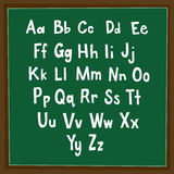 Alphabet in Blackboard. Alphabet written in a paper with dark green background Royalty Free Stock Photography