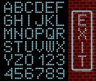 Alphabet bleu au néon Photographie stock libre de droits