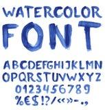 Alphabet bleu manuscrit d'aquarelle Photographie stock libre de droits