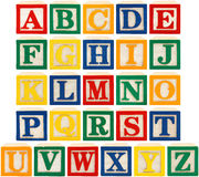 Alphabet Blocks. Same view 26 letters of alphabet in wooden blocks royalty free stock photo