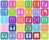Alphabet blocks. Colorful kids alphabet blocks set vector illustration