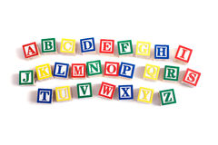 Alphabet Blocks. A child's alphabet blocks on a white background Royalty Free Stock Image