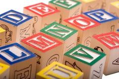 Alphabet Blocks. A child's alphabet blocks on a white background Stock Images