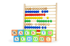 Alphabet blocks and abacus Royalty Free Stock Image