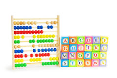 Alphabet blocks and abacus isolated Stock Photography