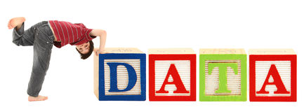 Alphabet Blocks and Adorable Boy DATA Stock Photography
