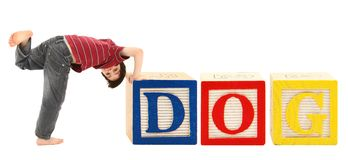 Alphabet Blocks and Adorable Boy DOG Royalty Free Stock Photo