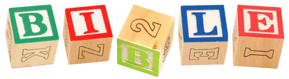 Alphabet Blocks BIBLE. Colorful alphabet blocks spelling the word BIBLE royalty free stock images