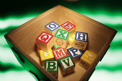 Alphabet Blocks in Box Stock Image
