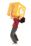 Alphabet Blocks Boy with Letter C royalty free stock images