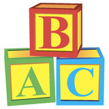 Alphabet blocks. Children with alphabet blocks for learning and play. Vector illustration royalty free illustration
