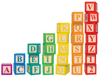 Alphabet Blocks. Colorful alphabet and numeral blocks Stock Photos