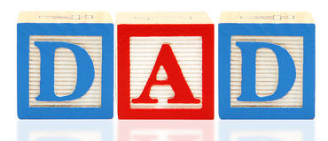 Alphabet Blocks DAD. Colorful alphabet blocks spelling the word DAD Royalty Free Stock Image