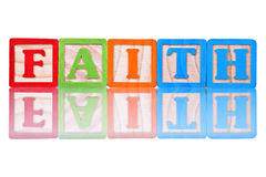 Faith. Letter blocks spelling word faith Stock Photography