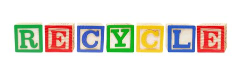 Alphabet Blocks Forming Word Recycle Royalty Free Stock Photos