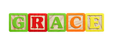 Alphabet Blocks Grace. Alphabet blocks in the name of Grace or concept of grace Stock Image