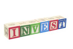 Alphabet Blocks - Invest Stock Image