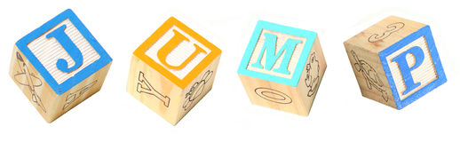 Alphabet Blocks JUMP Stock Photo