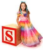 Alphabet Blocks Letter S with Beautiful Girl Stock Photography