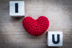 Alphabet Blocks and Red Heart Shaped Silk Stock Images