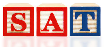 Alphabet Blocks SAT Scholastic Assessment Test Stock Photos