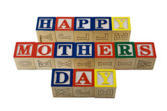 Alphabet blocks spelling happy mothers day Royalty Free Stock Image