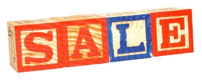 Alphabet Blocks Spelling Sale Royalty Free Stock Photography