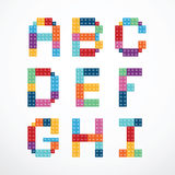 Alphabet blocks style vector set. Stock Photos