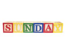 Alphabet Blocks - Sunday Royalty Free Stock Photos