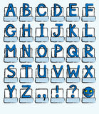 Alphabet blue. A complete alphabet of capital letters plus punctuation marks. Shades of blue, sketch style. Also available in vector format vector illustration