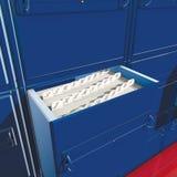 Alphabet blue box archive. 3D rendering, files with alphabetical blue box archive Royalty Free Stock Photos
