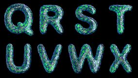 Alphabet from blue plastic with abstract holes isolated on a black background. Q R S T U V W X . 4K stock footage