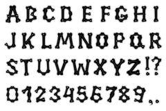 Alphabet with bones Stock Image