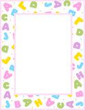 Alphabet border. Cute and colorful alphabet border on white background. a to z alphabet Royalty Free Stock Photo
