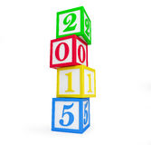 Alphabet box 2015 new year's. Isolated on a white background Stock Images
