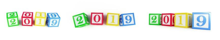 Alphabet box 2019 new year on a white background 3D illustration royalty free illustration